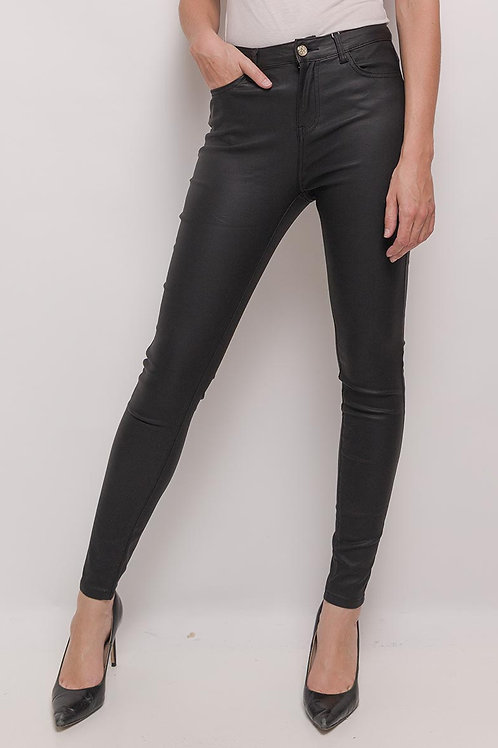 Coated pants Black