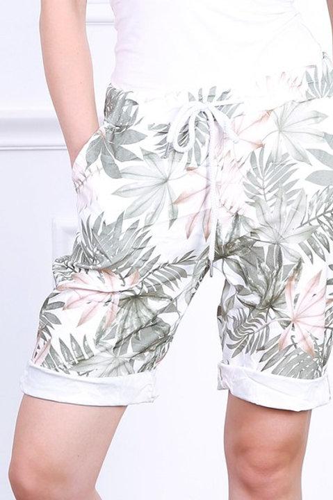 Tropical print shorts Khaki