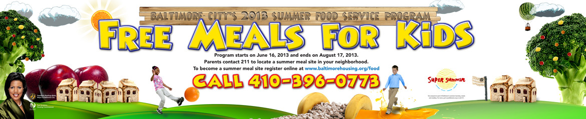 Summer Food Service Program Banner & Bus Ad; Design, Photography, & Photo Illustration
