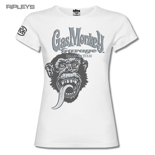 Gas Monkey t-shirt femme manches courtes blanc women GMG TONAL MONKEY