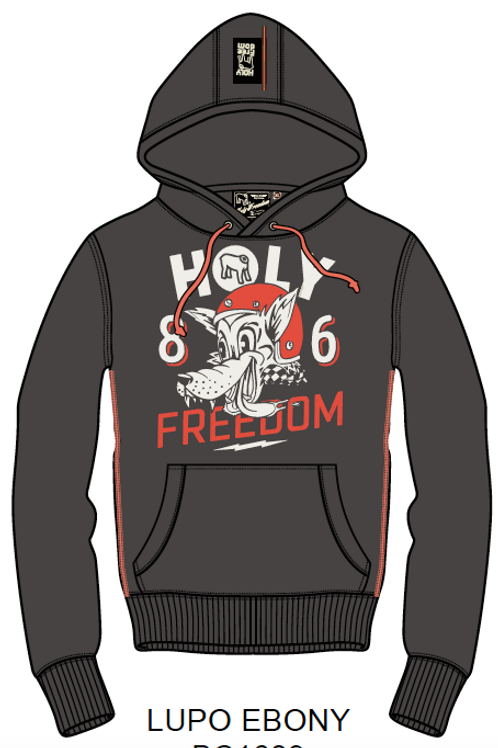 Holy Freedom sweat shirt Hoodie Lupo Ebony