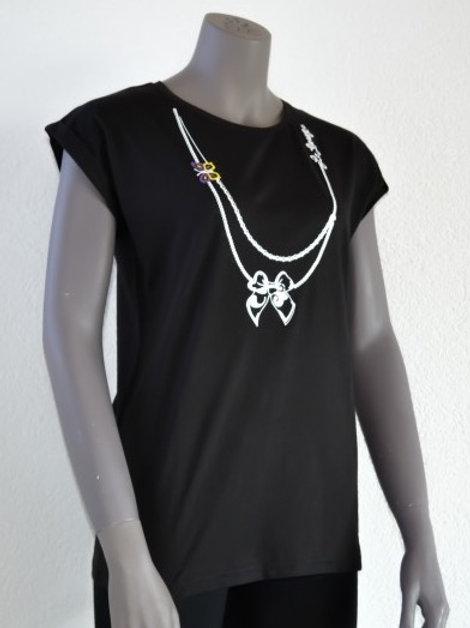 Le Garage t-shirt tunique femme manches courtes noir papillon