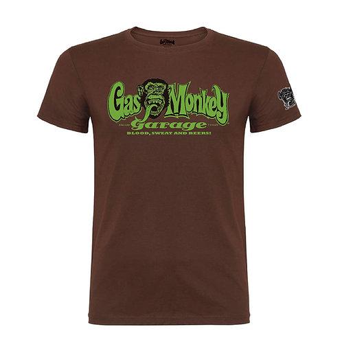 Gas Monkey t-shirt manches courtes chocolat brown logo vert GMG OG logo