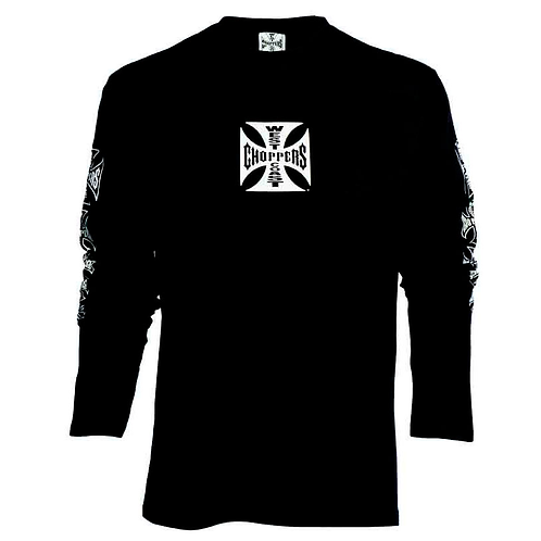 T-Shirt Long Sleeve Maltese Cross Black