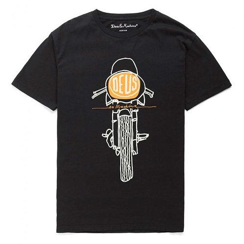 Deus Ex Machina t-shirt manches courtes noir FRONTAL MATCHLESS