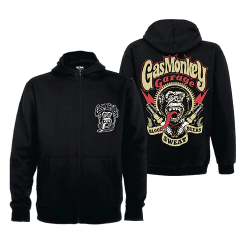Gas Monkey sweat shirt hoodie homme Zip GMG Embr Front Sparkplugs