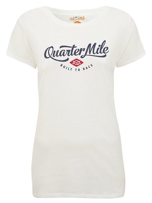 Quarter Mile t-shirt femme manches courtes blanc Classic Ladies Fit