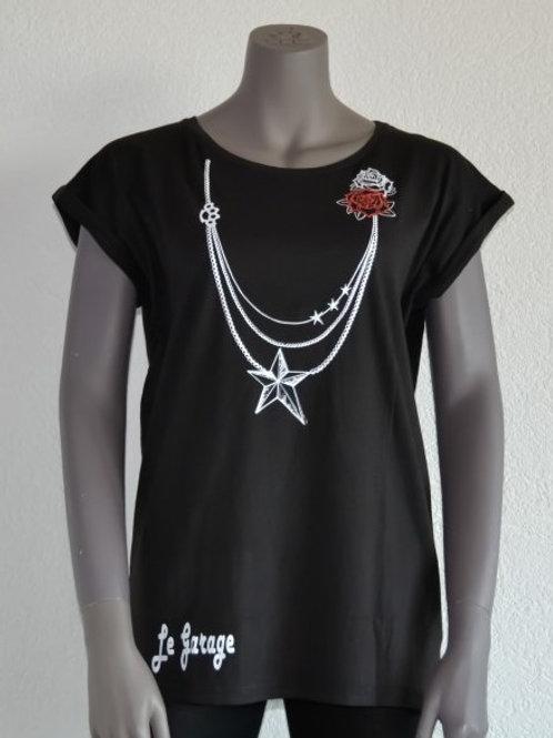 Le Garage t-shirt tunique femme manches courtes noir Rock