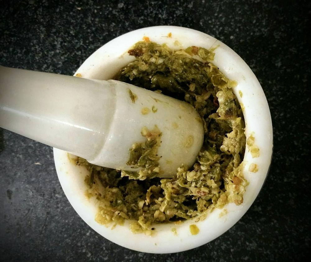 thecha recipe, kharda recipe, spicy condiment, indian recipe blog, indian condiment, rustic green chilli garlic paste, whiskmixstir food blog, sheetal jandial