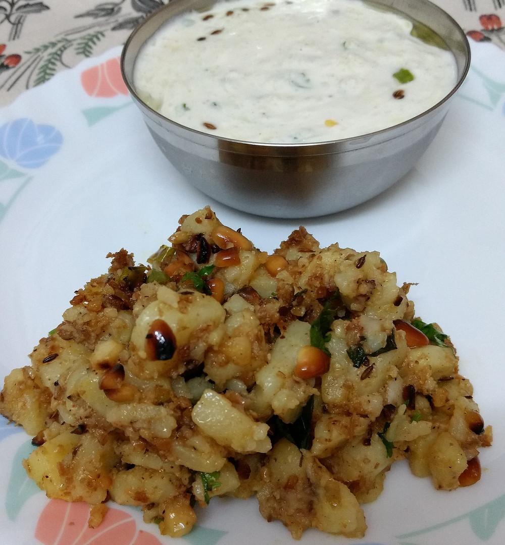 jeera aloo recipe, tadka aloo recipe, tempered potatoes recipe, cucumber raita recipe, indian vrat upvas fasting recipes, navratri vrat thali recipes, traditional indian food recipe blog whiskmixstir, sheetal jandial
