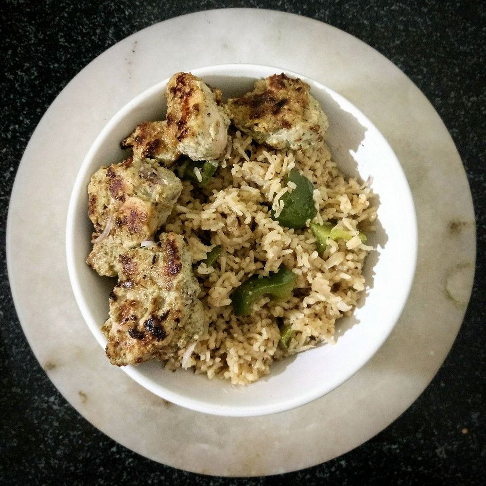chicken kebab pulao recipe, chicken tikka pulav recipe, authentic indian recipe blog, mint chicken pulao recipe, whiskmixstir indian food blog, sheetal jandial