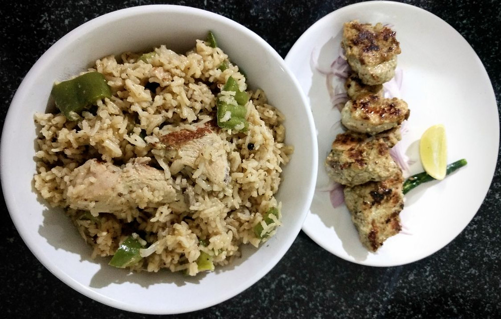chicken kebab pulao recipe, chicken tikka pulao recipe, traditional indian recipe blog, mint chicken pulao recipe, whiskmixstir indian food blog, sheetal jandial