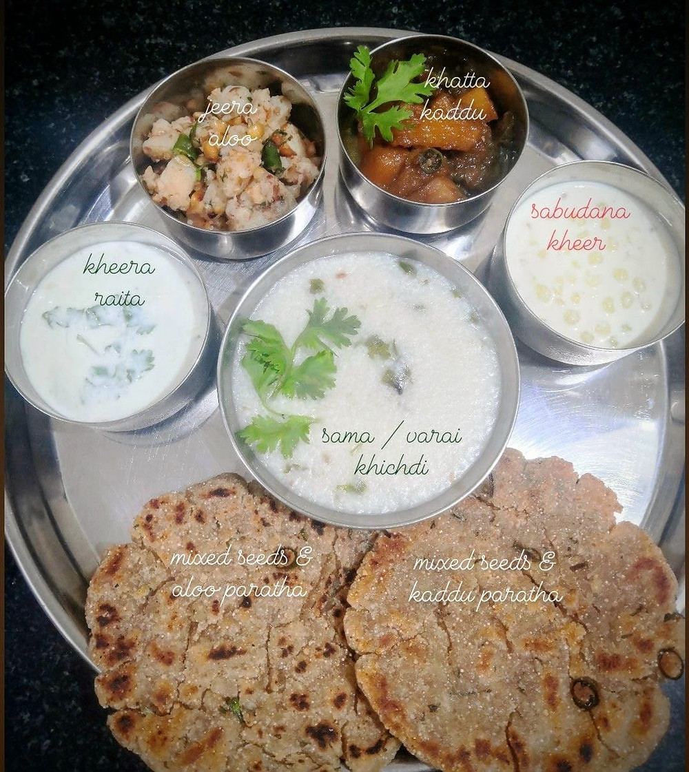 jeera aloo recipe, tadka aloo recipe, tempered potatoes recipe, cucumber raita recipe, thalipeeth recipe, indian vrat upvas fasting recipes, navratri vrat thali recipes, traditional indian food recipe blog whiskmixstir, sheetal jandial