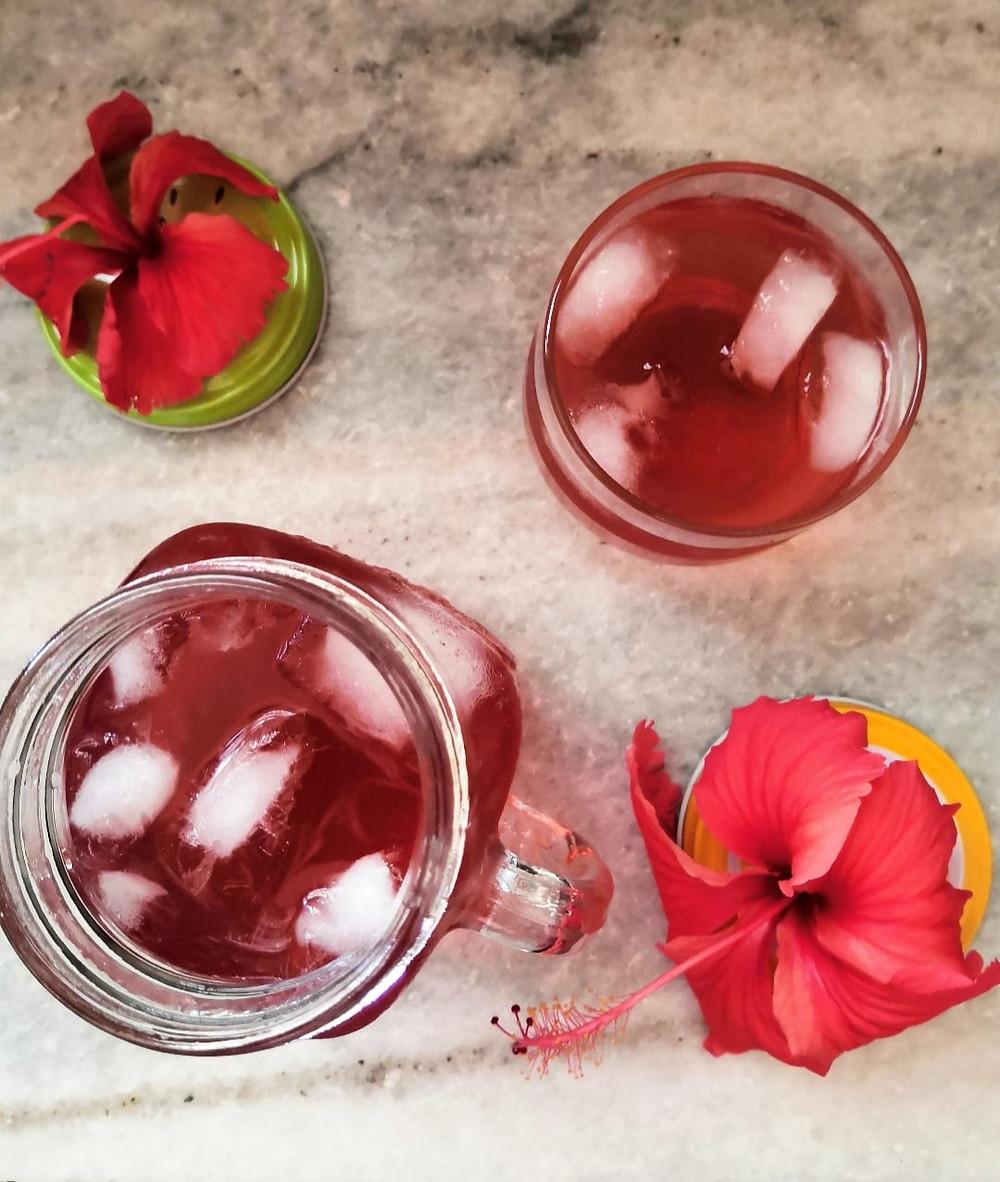 hibiscus tea recipe, hibiscus lemonade recipe, hibiscus herbal tea recipe, herbal iced tea recipe, summer coolers recipes, indian beverage recipes, traditional indian food recipe blog whiskmixstir, sheetal jandial