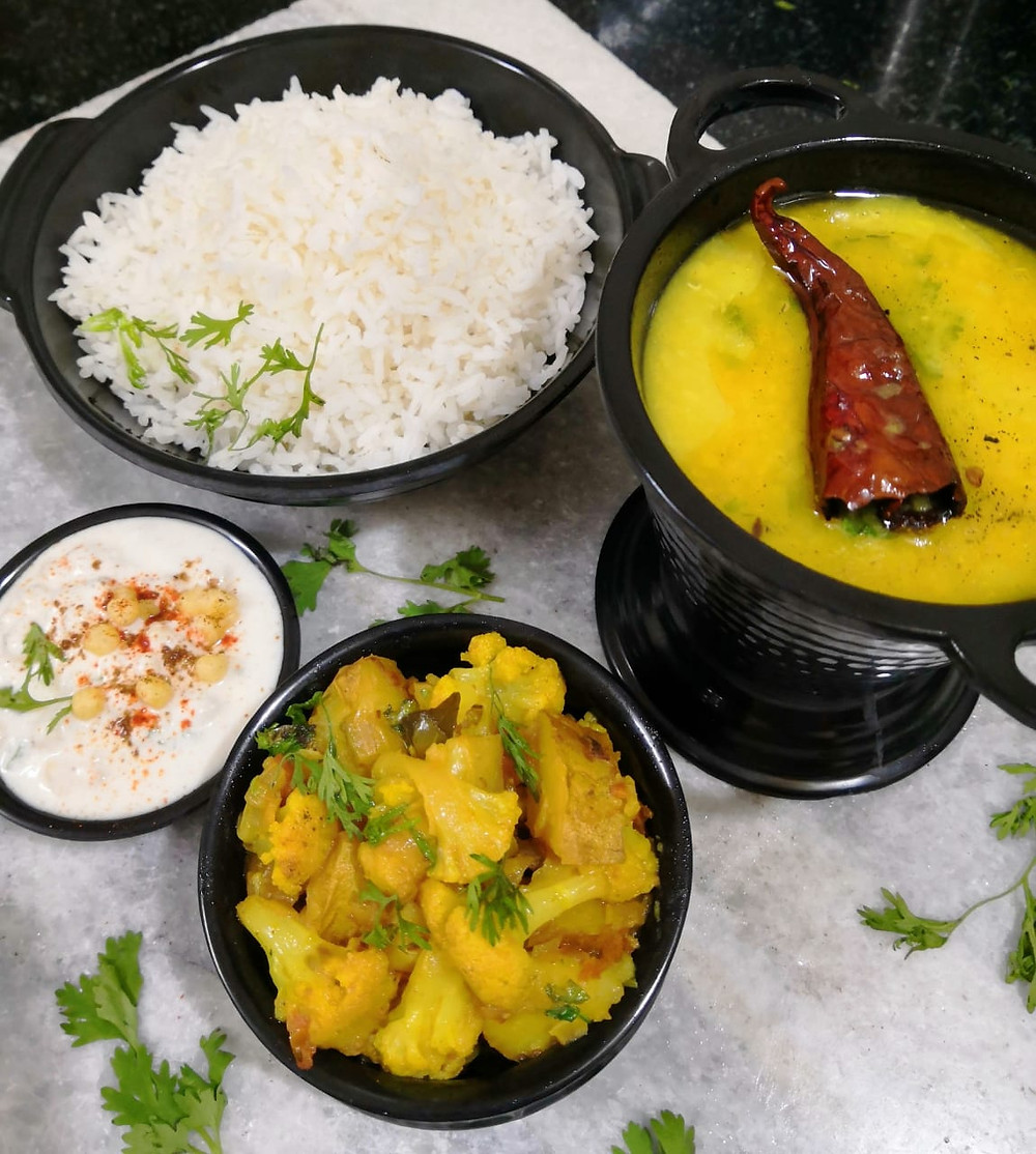 aloo gobi, aloo gobi recipe, tadka moong dal, indian recipe blog, boondi raita, vegan indian meal ideas, traditional indian recipes, whiskmixstir indian food blog, sheetal jandial