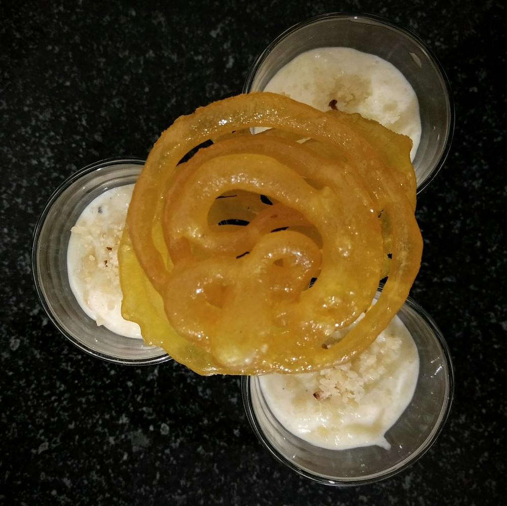 indian dessert rice phirni and jalebi recipe, indian dessert simple recipes, easy indian food recipe blog whiskmixstir, sheetal jandial