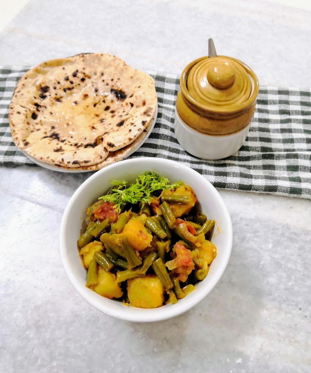beans aloo recipe, green beans and potatoes recipes, indian masala recipe, traditional indian recipes, indian food recipe blog whiskmixstir, sheetal jandial