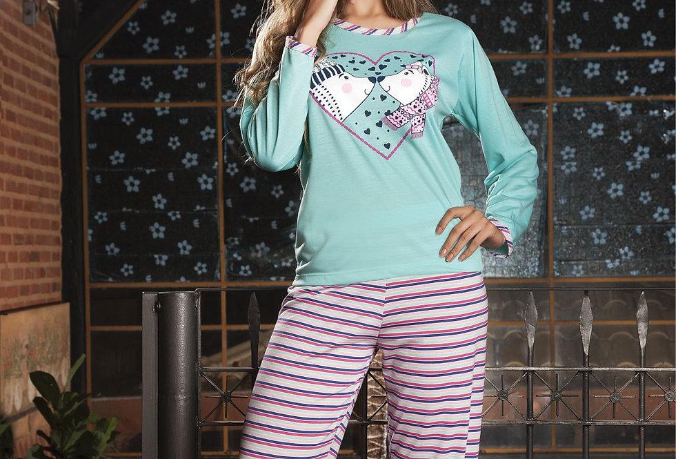 Pijama Longo   Listrado