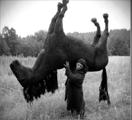 Con el caballo cansado