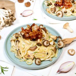 Pasta mit Pilzen, Speck & Rosmarin