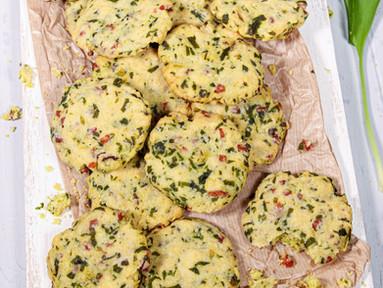 Bärlauch-Cookies mit Schinken