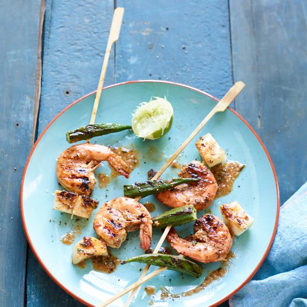 Jerksticks - Garnelen mit Okra und Maniok