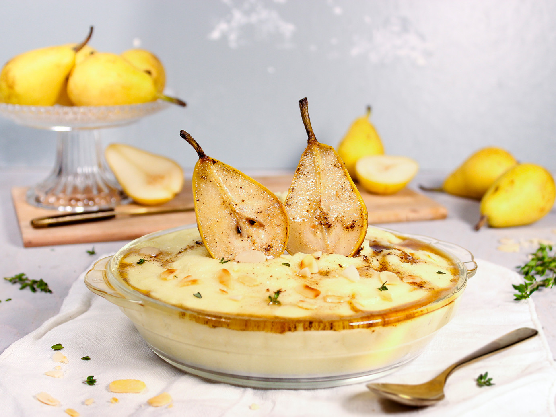 Tonka-Grießbrei mit Birnen, brauner Butt