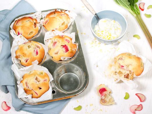 Rhabarber-Muffins mit Ingwer & Zitronen-