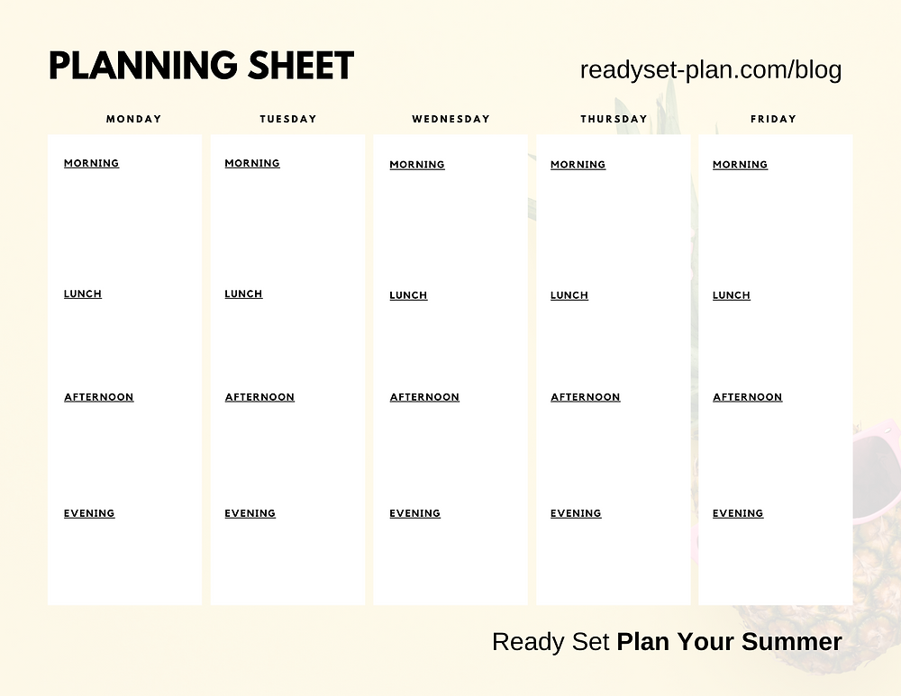 Ready Set Plan Your Summer Planning Sheet