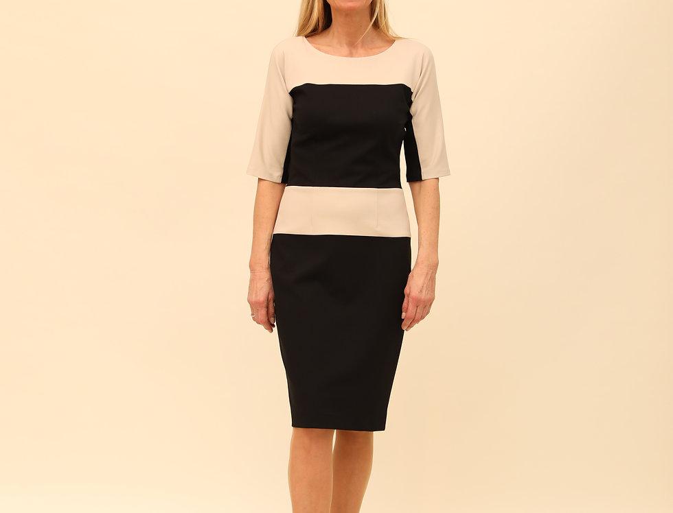 Kleid Viktoria buttercreme/black