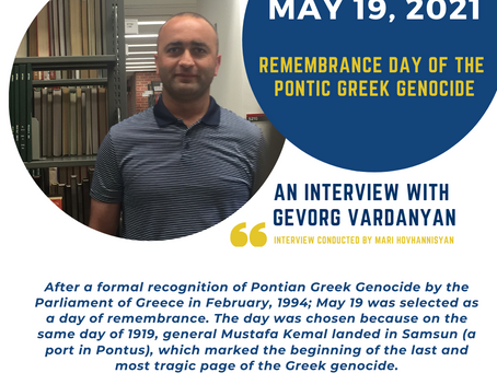 Remembrance Day of the Pontic Greek Genocide: An Interview with Gevorg Vardanyan