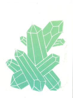 Kristall Mint I Linoldruck