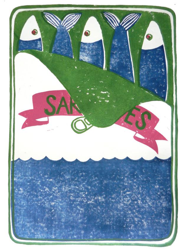 Sardines Grün I Linoldruck