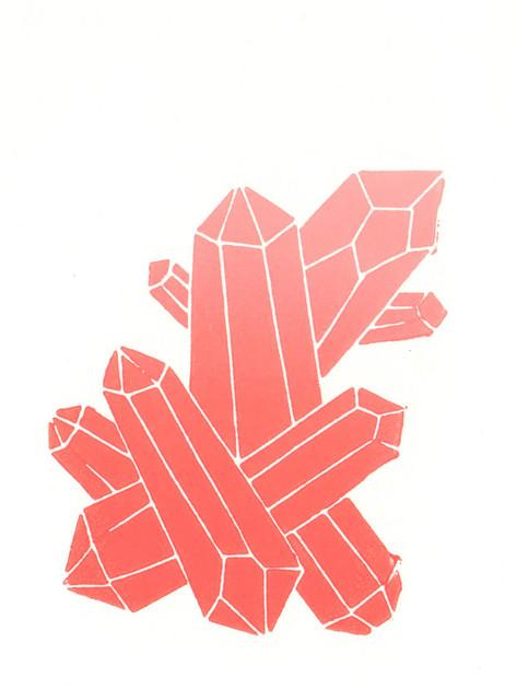 Kristall Rosa I Linoldruck