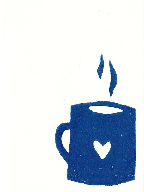 Teetasse Blau I Linoldruck