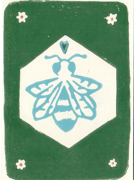 Bienli Grün I Linoldruck