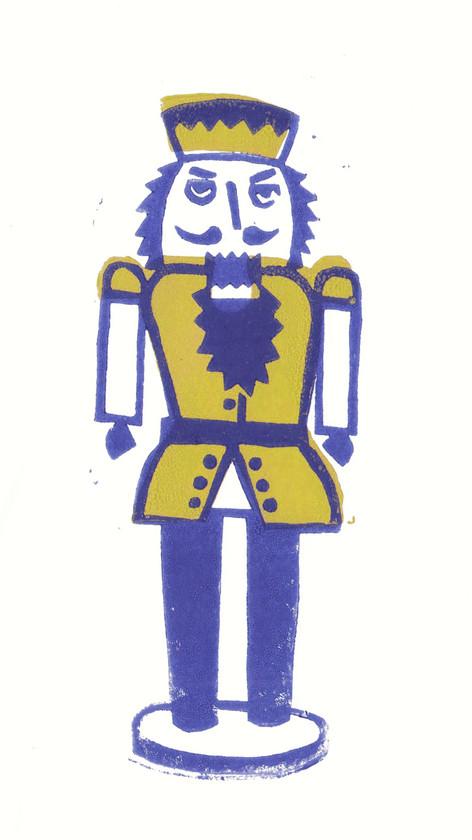 Nussknacker Blau I Linoldruck