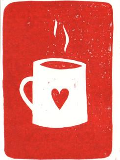 Teetasse Rot I Linoldruck
