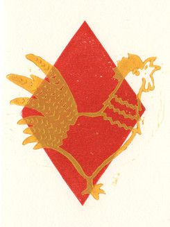 Güggel Rot I Linoldruck