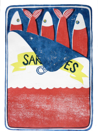 Sardines Rot I Linoldruck