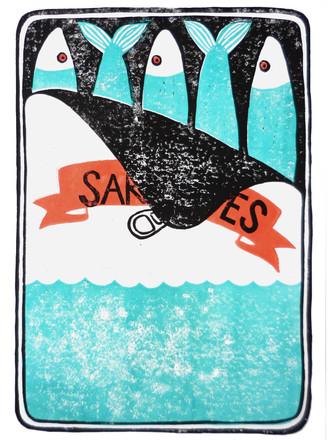 Sardines Türkis I Linoldruck