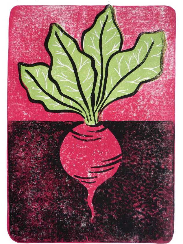 Rübe Pink I Linoldruck