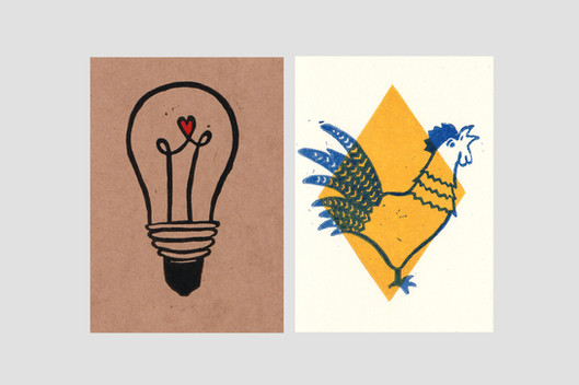 Linolschnitt Karten