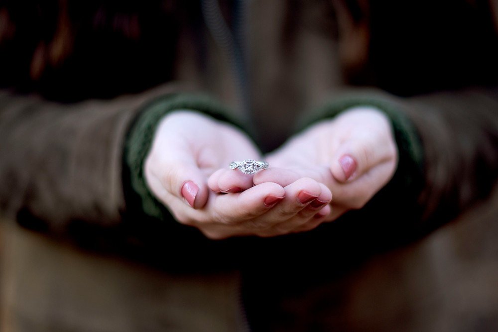 Engagement photography at Craighead Forest in Jonesboro, Arkansas in January, Wedding Photography, Arkansas Engagement Photographer, Photo of square diamond engagement ring