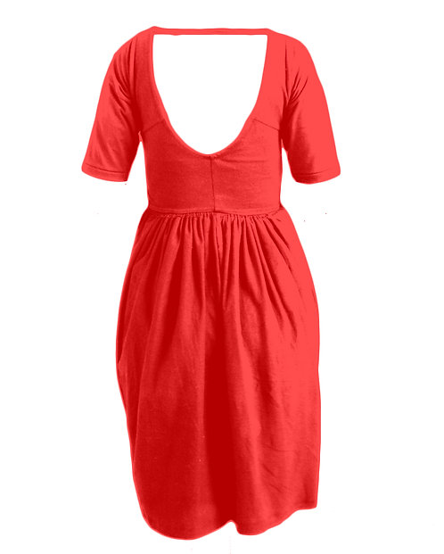 SCOOP-BACK 3/4 SLEEVE DOUBLET DRESS