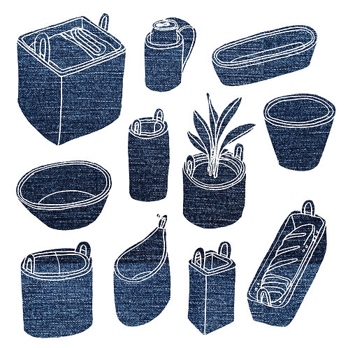FABRIC POTTERY - RECYCLED DENIM BUCKETS & BOWLS - TWO WEEKS! Choose-Your-Own!