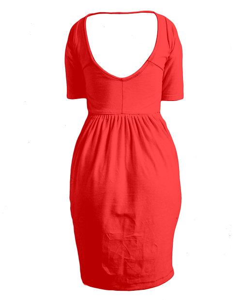 SCOOP-BACK 3/4 SLEEVE SINGLET DRESS