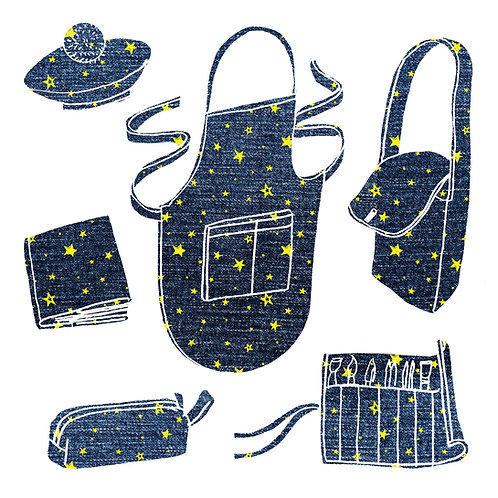 SEW ARTISTIC! - RECYCLED DENIM ARTIST ACCESSORIES KIT -  3 WEEK Choose Your Own!