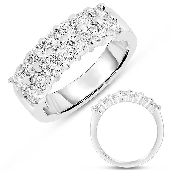 White Gold Double Row Band
