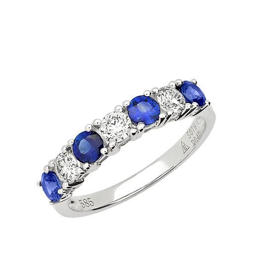 Round Sapphire and Diamond